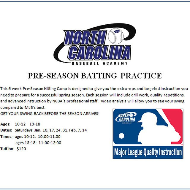 New preseason hitting camp opportunity at NCBA. get your swing back before the season starts!