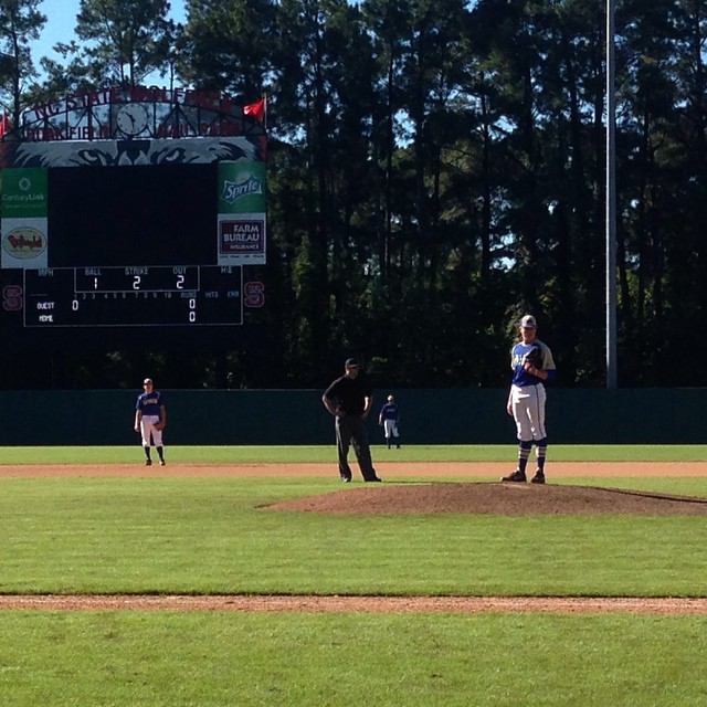 2015 NCBA Golden Spikes playing at NC State. Justin Olczak on the mound and Colin Lipke at 2nd base!